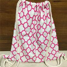 Handmade Cotton Linen Drawstring Travel Backpack Student Book Bag Cross Flower S