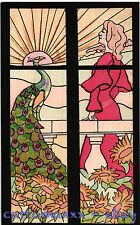 Art Nouveau - Beautiful Woman with Peacock Belle Femme avec Paon - L030