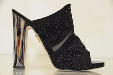 $895 Maiyet JILL Embroidered MULE Sandals Shoes  Black 37 RARE! SOLD OUT