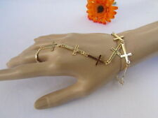 Women Gold Metal Fashion Thin Crosses Bracelet Slave Chains Ring Classic Style