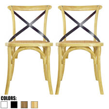 Set of 2 Natural Cross Back Chair X Back For Modern Wood Dining Chair Kitchen