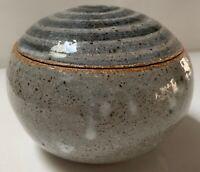 Vintage Round Lidded Jar Gray Blue Spiral Stoneware Ceramic Pottery Mid Century