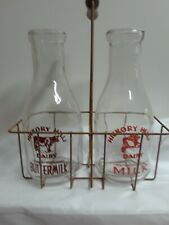 Vintage Milk Bottles w/ Metal Carrier from Hickory Hills Farm Dairy