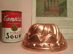 "5.25"" handhammered copper mold arts crafts vtg cooking Pâté jello cake butter"