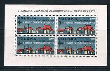 Poland 1962 5th Trade Unions Congress sheetlet SG 1350 Fischer Blok 37
