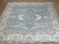 13'9 x 13'9 Square Hand Knotted Light Blue Oushak Oriental Rug Ushak G8718