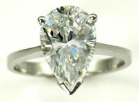 925 Sterling Silver 2 Ct. Natural Moissanite Diamond Pear Shape Ring Sale