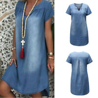 Plus Size M-3XL Lady Short Sleeve Summer Loose Denim Midi Women Jeans Dress New