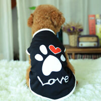 Pet Dog Clothes Shirt Puppy Dogs T-Shirt Paw-Love Vest Clothing Cute Doggy Cat