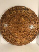 """AZTEC MAYAN INLAID CALENDAR SUN STONE MOSAIC WOODEN WALL ART 23""""x 23"""", 1 1/2"""" D."""