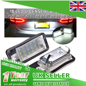 2x 18 LED License Number Plate Light Lamp For Audi A3 8P S3 A4 B6 B7 A6 S6 A8 Q7