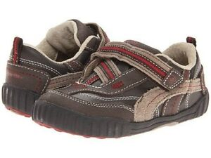 NIB Stride Rite Athletic Shoes Calvin Brown Taupe Red 4.5 M