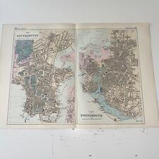 c1889 Southampton Portsmouth British Isles Map Bacon Antique Vgc