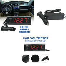 3 in 1 Digital LCD Car Temperature Thermometer Time Clock Voltage Meter Monitor