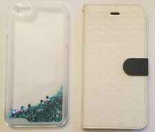 Iphone 6S Plus Set of 2 Clear Glitter Case and White Leather Wallet Phone Case