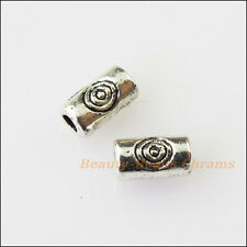 100Pcs Antiqued Silver Tone Tiny Tube Spacer Beads Charms 5mm