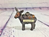 "Vintage Metal Donkey Figurine Souvenir Missouri - 2.5"" T x 2.25"" / Jackass"