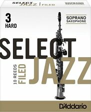1 Box of 10 D'Addario/Rico Select Jazz Reeds Filed. Soprano Sax 3-Hard(3H) NEW!