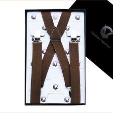 Men's Mid Brown X2.5cm Braces  Mens Suspenders
