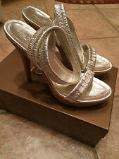Gucci Women's Silver Elastic Strappey Cork Heels Size 38/8 with box