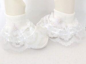 Handmade white  organza trim frilly socks baby/girls/adult various sizes