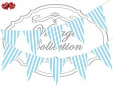 Vintage Collection Candy Sky Blue & White Stripes Themed Bunting Banner 15 flags