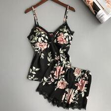 US Womens Sexy-Lingerie Sleepwear Satin Silk Babydoll Lace Nightwear Pajamas Set
