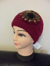 Knit Crochet Headband w/ Feathers Beads Ear Warmer Hairband Head-Wrap
