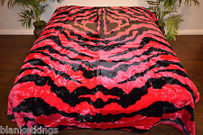 NEW 5 POUNDS SOFT QUEEN KOREAN MINK BLANKET Plush Throw HOT PINK ZEBRA STRIPES