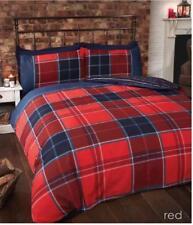Rapport Argyle Tartan Check Stripe Duvet Teen Boys Quilt Cover Set Red Single 5027491658706