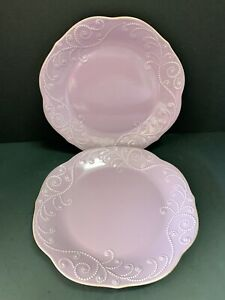 """2 PERFECT LENOX FRENCH PERLE VIOLET DINNER  PLATES   11""""   FIRST QUALITY"""