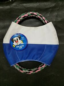 Rope and Canvas Dog Pull/Toss Toy NEW Blue/White