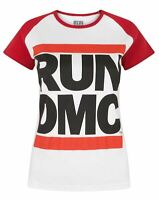 Run DMC Logo White Women's Raglan T-Shirt