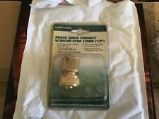 "BRASS 1/2"" GARDEN WATER HOSE QUICK CONNECT with WATER STOP"