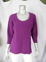 RQT WOMAN 1X 70% Cotton Thick Ribbed Purple/Violet Scoop Neck Sweater Pullover