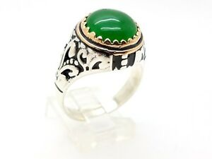 925 STERLING SILVER HANDMADE BRONZE GREEN AGATE MEN'S OTTOMAN RING SIZE 11 USA