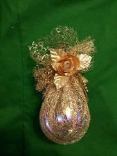 GLASS BULB CHRISTMAS ORNAMENT GOLD NETTING ROSE LEAF TEARDROP EGG