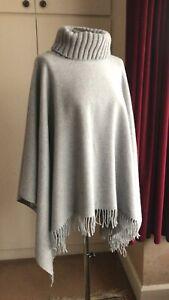 FABIANA FILLIPPI Merino Wool/Silk/Cashmere Pale Grey Poncho One Size
