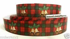 Grosgrain Ribbon, Golden Merry Christmas Bells with Holly on Plaid, 7/8 Wide