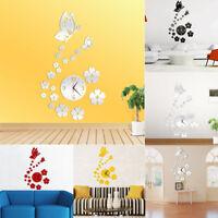 Ee _ Lk _ 3D Mariposa Extraíble Reloj de Pared DIY Espejo Adhesivo Hogar Oficina
