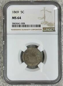 1869 Shield Nickel NGC Certified MS64