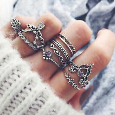 Boho 10PCS Ring Set Boho Gypsy Tribal Jewellery Gift Idea Silver Crown Rings