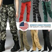Womens Comfort Cargo Casual Pants Loose Fit Low Rise Outdoor Army Ladies Trouser