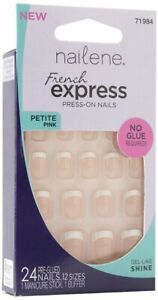 NAILENE 24 Press-On Nails FRENCH EXPRESS - NO GLUE REQUIRED Petite PINK #71984