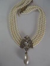 N065 1920's Gatsby Art Deco Nouveau Audrey Hepburn Pearl Necklace Victorian