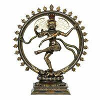 "18"" Bronze Lord Shiva Nataraja Dancing Idol Statue Antique Finish Home Decor"