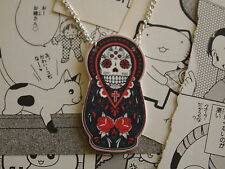 Candy Skull Russian Doll Necklace - Rockabilly Day of the Dead Sugar Tattoo