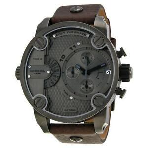 Diesel Men's Grey Gunmetal Dual Dial Leather Brown Band Chronograph Watch DZ7258