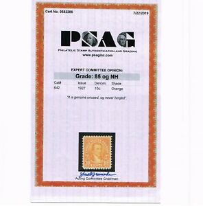GENUINE SCOTT #642 MINT PRISTINE OG NH 1927 ORANGE PSAG CERT GRADED VF-XF 85