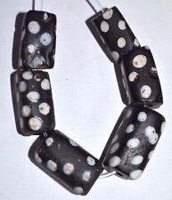 Antique Black Venetian Lampwork Italian Square Skunk Eye Beads, African Trade
